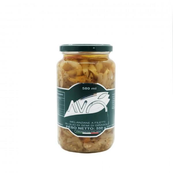 Melanzane a filetti in olio di semi di girasole - 550 gr.