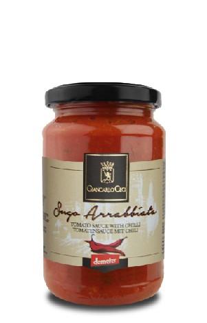Organic arrabbiata sauce with hot chili pepper - 330 gr.